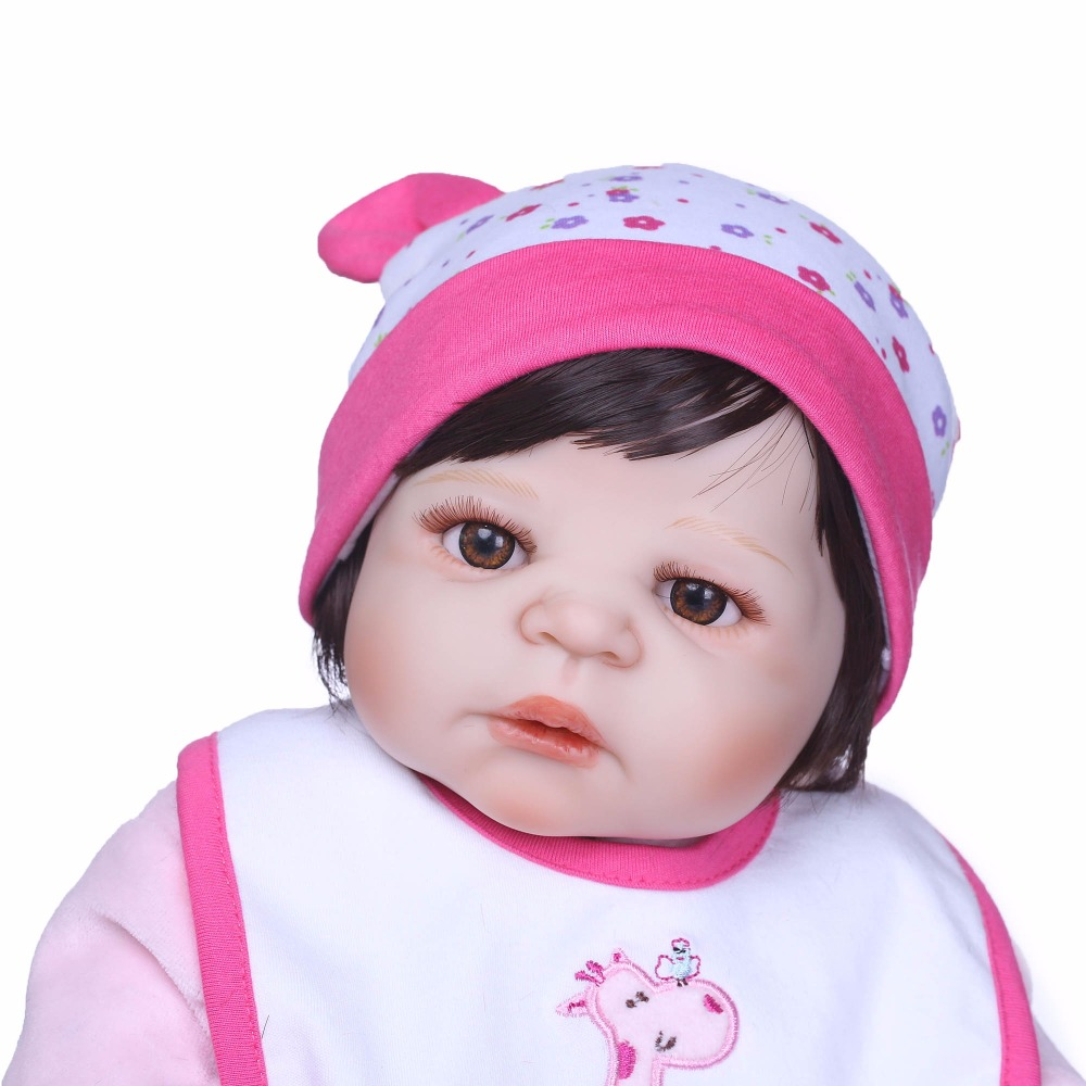 NPK Stylish 22 Inch Real Lifelike Reborn Babies full silicone Body Newborn Princess Girl Dolls Children Birthday Xmas Gift