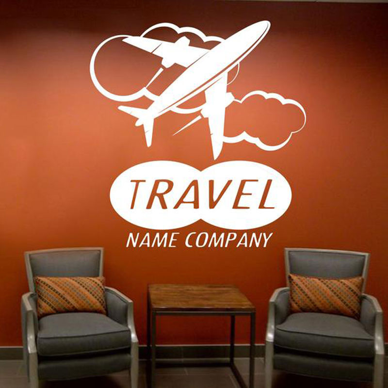 Custom Travel Name Company Wall Sticker Vinyl Travel Agency Office Summer Holidays Voyage Wall Decal Murals Window Decor <font><b>3601</b></font> image