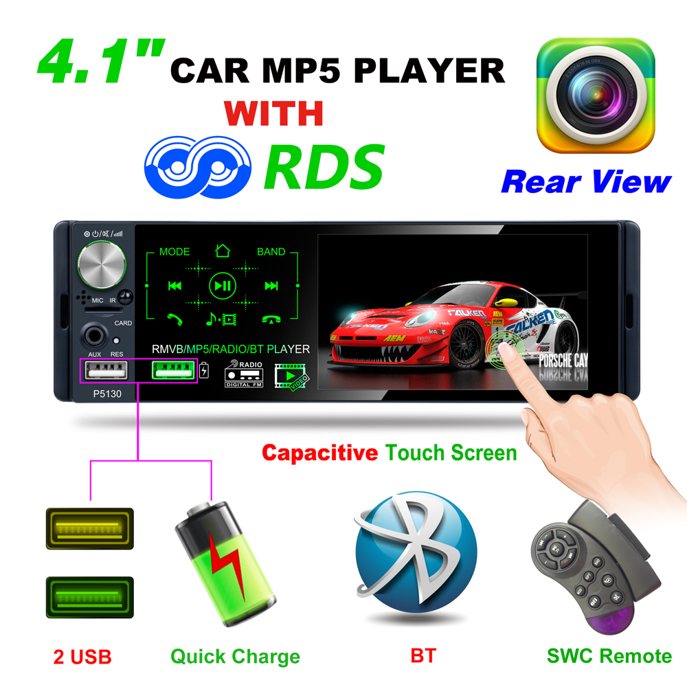 P5130 2019 New Arrival 4.1 TFT LCD HD 1080P 4*50W ISO Bluetooth RMVB/AVI Media Player Subwoofer AM FM Radio RDS MP3 MP4 MP5 USB