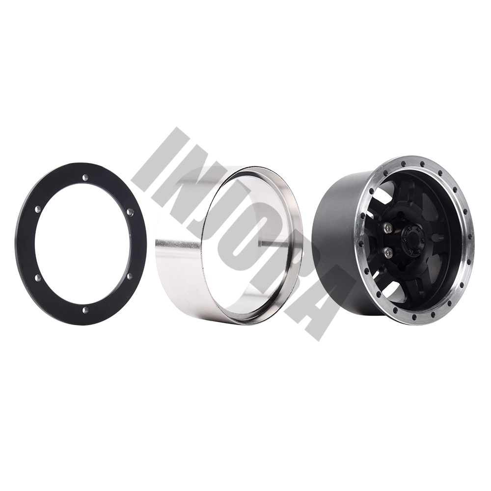 Alliage de métal lourd INJORA jante de roue Beadlock 1.9 pouces pour 1:10 RC chenille axiale SCX10 & SCX10 II 90046 90047 D90 TF2 - 2
