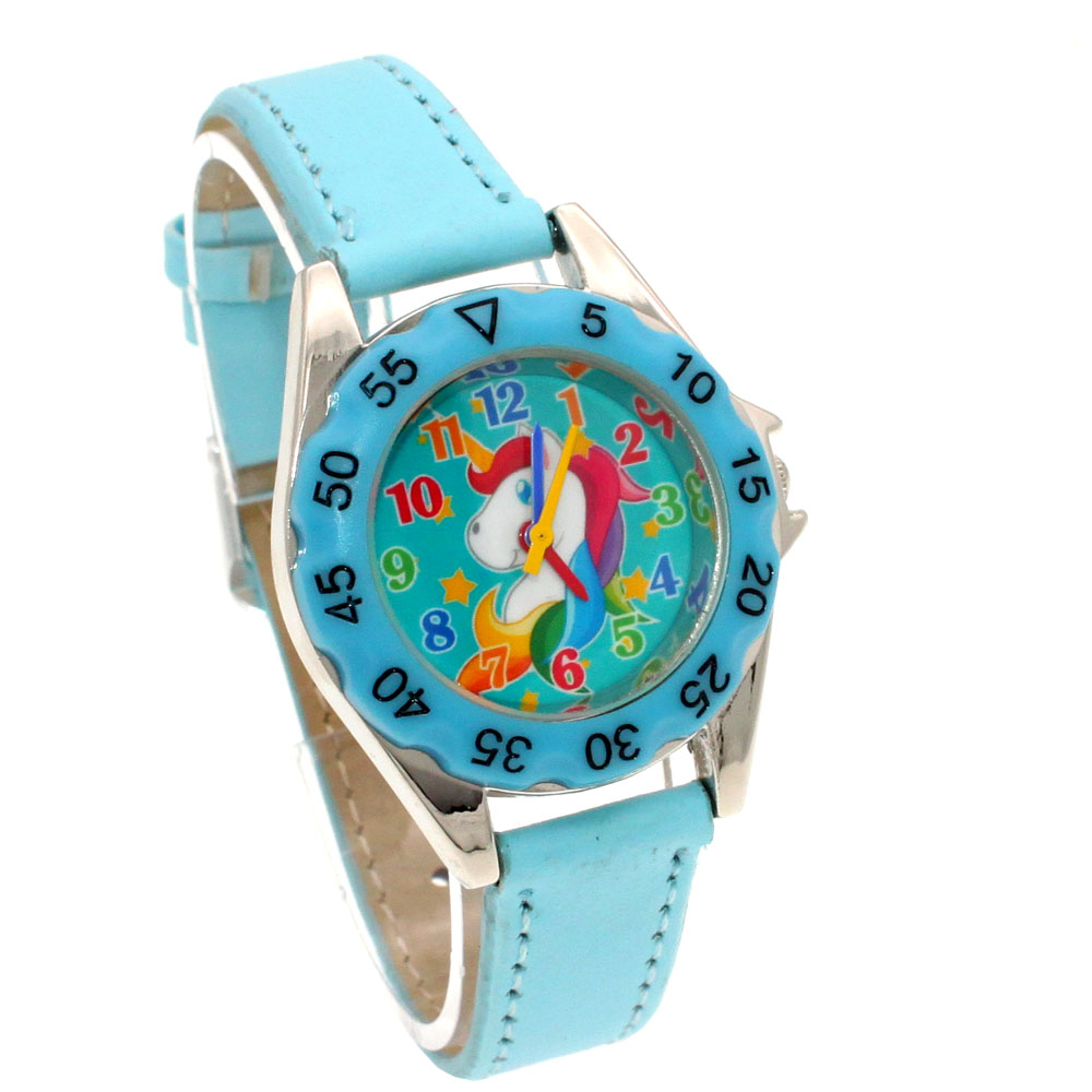 Watches Cute Unicorn Ladies Watch For Kids Girls Boy Light Blue Leather Wristwatch Casual Dress Fashion Children Learn Time Watch U85b