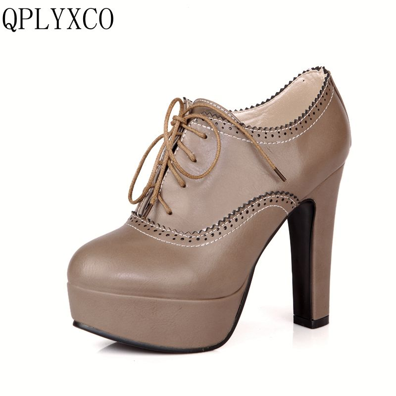 QPLYXCO 2017 New big small size 31 47 women stiletto high heel shoes sexy lady platform spring fashion lace up pumps shoes 88 8 in Women 39 s Pumps from Shoes