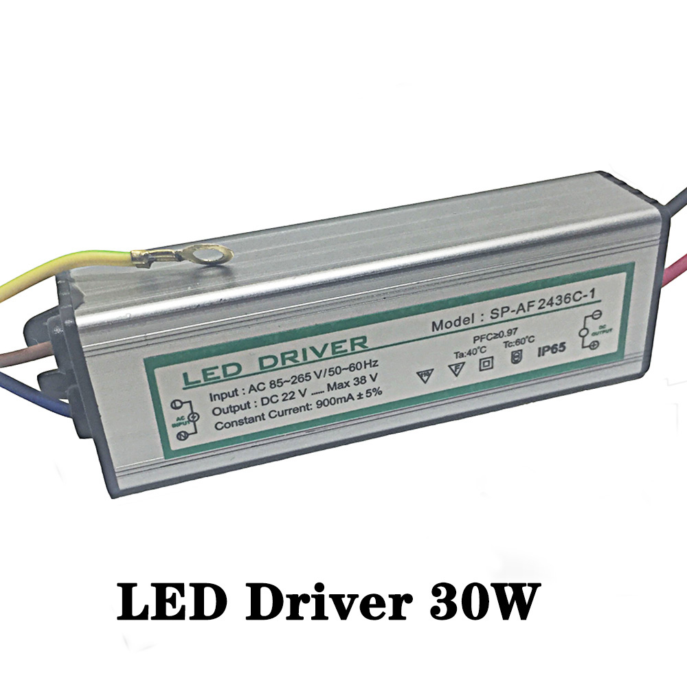 Led Driver DC20-36V 30W 900mA Led Power Supply Floodlight Driver (10 series 3 parallel) Waterproof IP65 new100w 10 series 10 parallel waterproof integrated led bulb driver power supply constant current ac 100 265v to dc 26 36v
