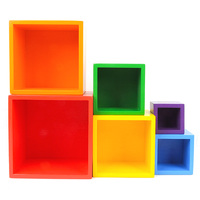6Pcs Colorful Wooden Stacking Up Building Blocks Square Cubes Baby Kids Stacking Stack Up Square Box Children Wooden Stack Toys