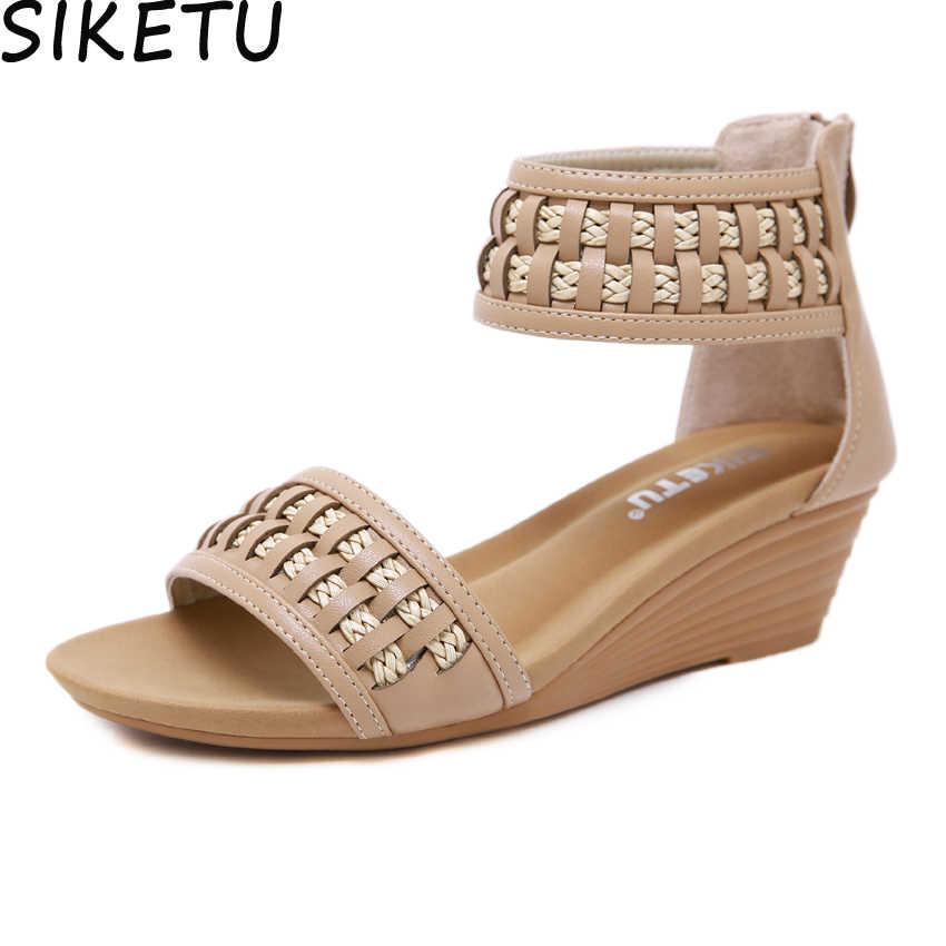 68e8d9c08a2 SIKETU Women Elegant Comfort Sandals Ankle Wrap Bohemia Sandals Boho Shoes  Summer Beach Med Heel Platform