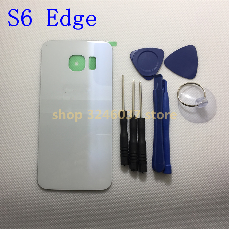 Back Glass Cover for Samsung Galaxy S6 Edge G925 G925F Rear Battery Cover Housing with Logo + sticker image