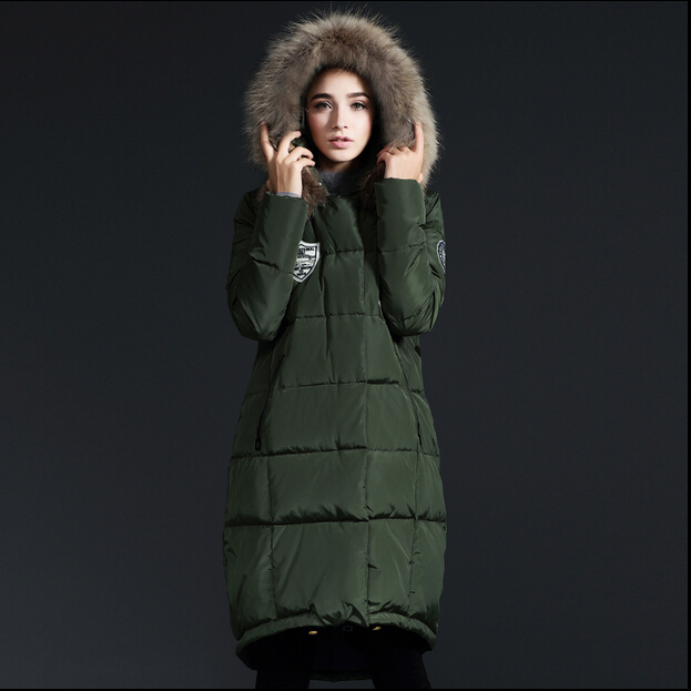 2015 New Hot Winter Thicken Warm Woman Down jacket Coat Parkas Outerwear Hooded Raccoon Fur collar Loose Luxury Long Plus Size