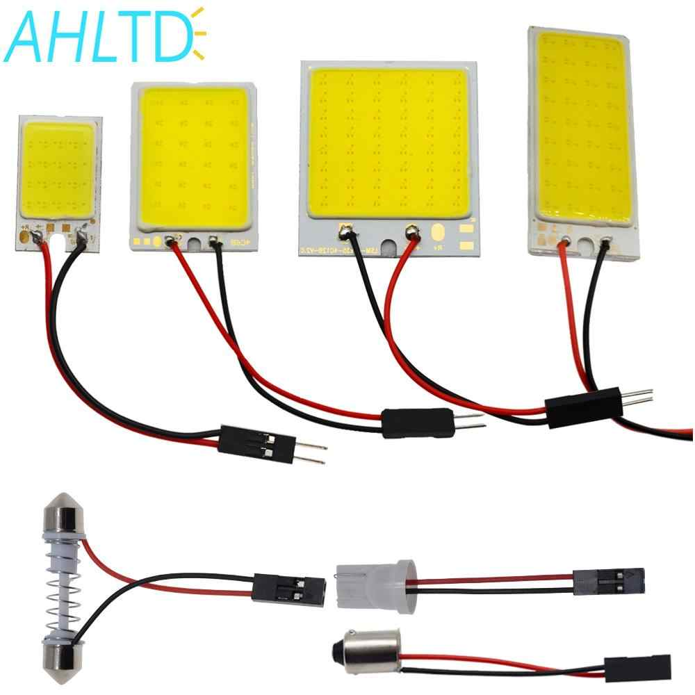 White T10 16/24/36/48 Smd Cob Led Panel Car Auto Interior Reading Map Lamp Bulb Light Dome Festoon BA9S 3Adapter DC 12v