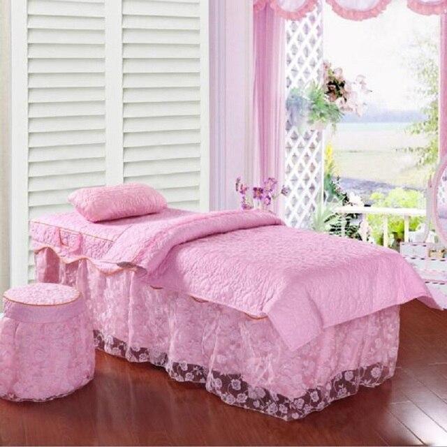 One Set Customized Lace Beauty Salon Bedspread 70*190cm 80*190cm Bed Skirt Duvet Cover for Beauty Parlor 4pcs Purple Pink