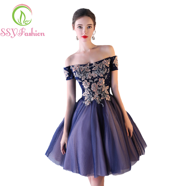 Evening Dress SSYFashion New Banquet Elegant Navy Blue Lace Appliques with  Beading A-line Short Formal Party Gown Robe De Soiree de139e0cd4ab