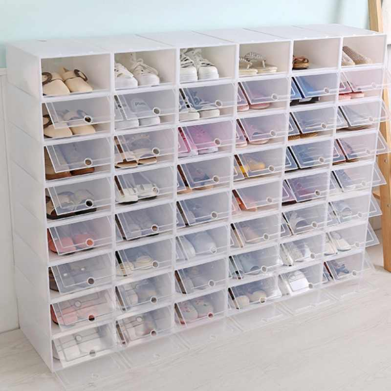 Caixas de sapato de plástico claro empilhável floding diy sapato gavetas organizador recipiente de armazenamento branco