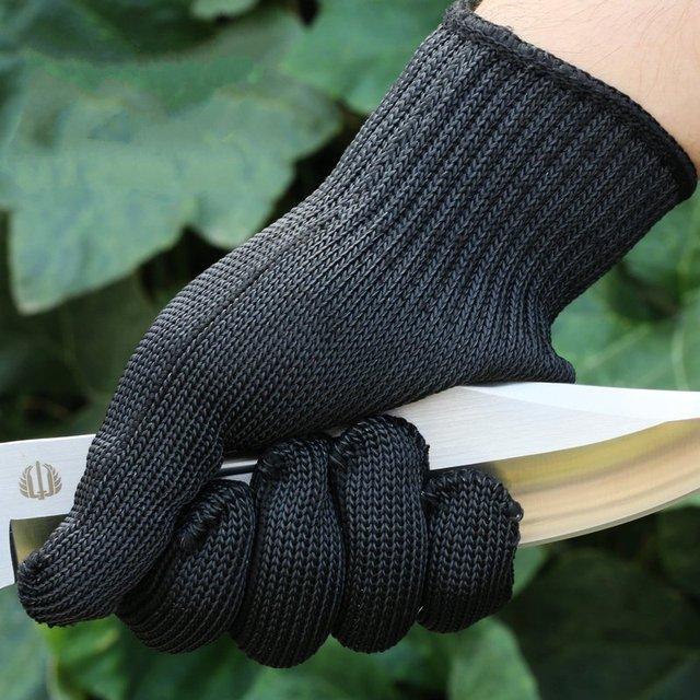 O espessamento de 5 grau de fio de aço de corte luvas resistentes luvas anti faca auto-defesa de segurança à prova de explosão-dedo completo luvas