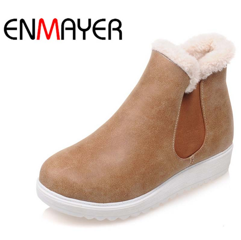 Hot Sale Women Snow Boots Shoes New Round Toe PU Ankle Boots Elastic band casual Motorcycle Boots
