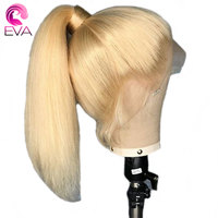 Eva #613 Straight Full Lace Human Hair Wigs Pre Plucked With Baby Hair Glueless honey Blonde Full Lace Wigs Brazilian Remy Hair