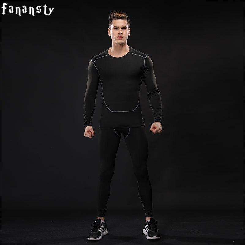 2017 nové kompresní tepláky muži trénink běžecká souprava fitness muži těsné košile s dlouhým rukávem kalhoty legíny tělocvičny sportovní oblek