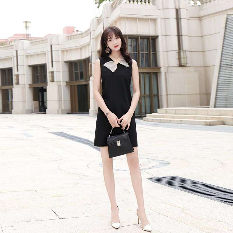 Spring new fashion simple bow scarf silk stitching sleeveless waist slimming above knee black A line dress d34