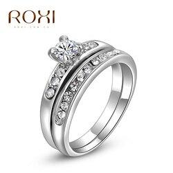 ROXI Yüzükler Kadınlar Için Gül Altın Renk Shinning Kristal Zirkon Kadınlar Alyans Seti Gelin Çift Parmak Ringen Takı Hediye