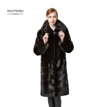 HUANHOU QUEEN with fur hood slim thick warm real mink fur coat for women's ,covered button full sleeves with full pelt .