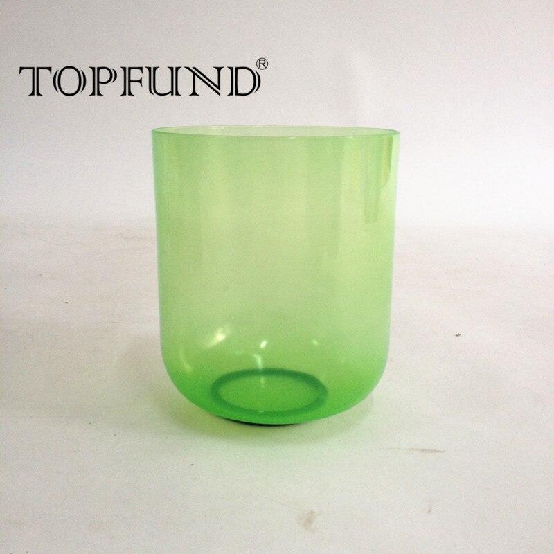 TOPFUND зеленый цвет прозрачный F Note сердце Чакра кварцевый кристалл поющая чаша 6 с бесплатным молотком и уплотнительным кольцом