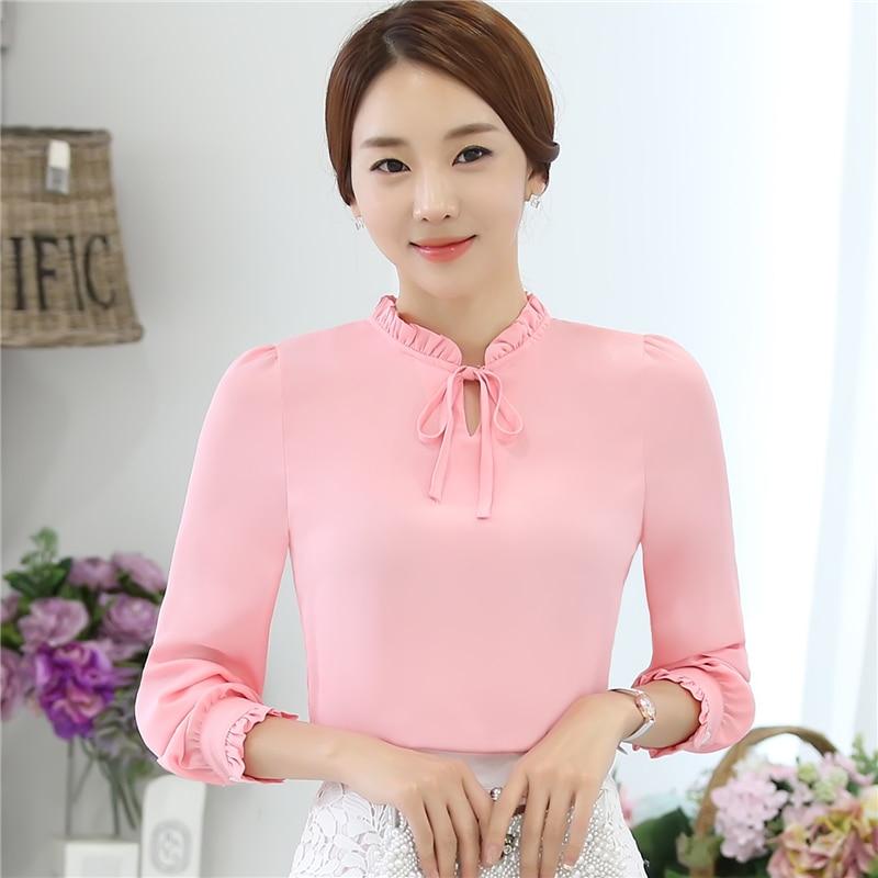 New Women   Shirts   Bow Ruffles Full Sleeve Chiffon Collar   Blouse     Shirt   Sky Blue Dark Green White Pink Purple 8809