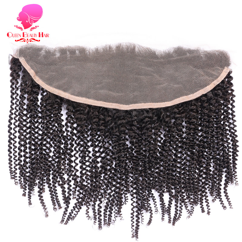 QUEEN BEAUTY HAIR Brazilian Remy Hair Lace Frontal Closure Afro Kinky Curly 13 4 Bleached Knots