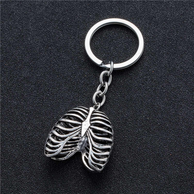 Breloczek ze stali nierdzewnej Punk ludzka klatka piersiowa szkielet wisiorek zawieszenie klucze pierścienie łańcuch
