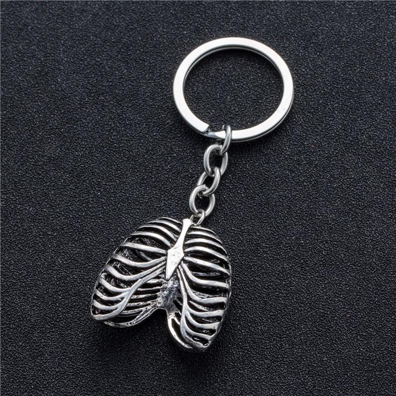 Stainless Steel Keychain Punk Human Rib Cage Skeleton Pendant Suspension Keys Rings Chain