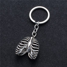 Stainless Steel Keychain Punk Human Rib Cage Skeleton Pendant Suspension Keys Rings Chain(China)