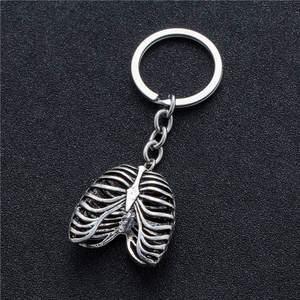 Keychain Punk Skeleton-Pendant-Suspension Stainless-Steel Human Rib-Cage