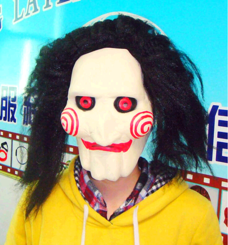 Obliging Cosplay Saw Movie Jigsaw Puppet Mask Halloween Full Wig Mask Head Latex Creepy Scary Trick Prank Toys Costume Party Prop