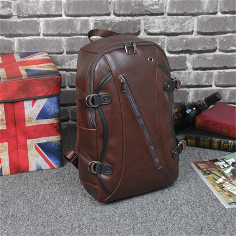 New Backpack Men Leather Travel Backpacks For School Teenagers Shoulder Zipper Brown Bag Male Vintage Mochila Rucksack Bagpacks