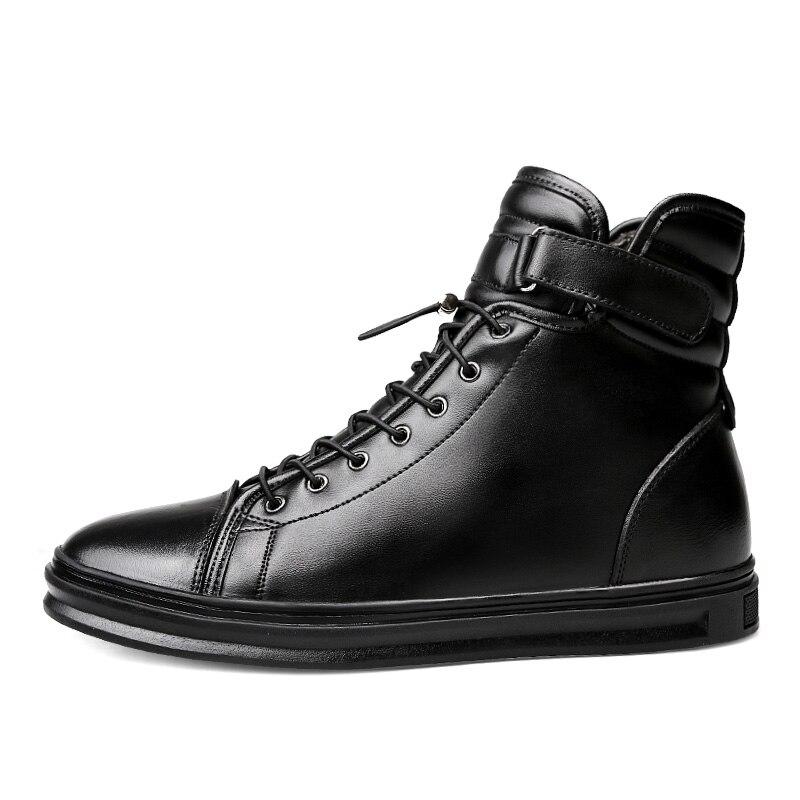 Ayakk.'ten Çalışma ve Güvenlik Botları'de Valstone Kaliteli Hakiki Deri çizmeler Erkekler Reah deri yüksek siyah sneakers ile Kanca ve Döngü dantel Rahat daireler Artı boyutu 48'da  Grup 2