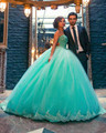 Sin tirantes Aqua Blue Tulle de princesa Lace Applique del vestido de bola del vestido de quinceañera con cuentas corpiño 2016 dulce 16 vestido
