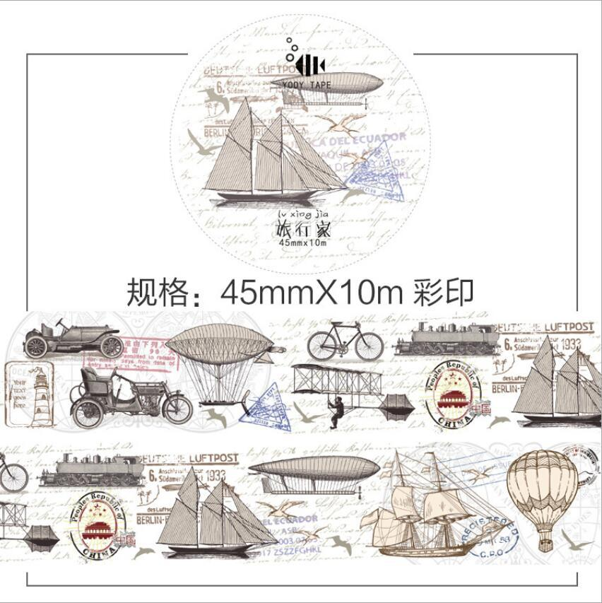 New Design Retro Style Ship Car Travel Old Style Vintage DIY Decorative Washi Tape Diary Deco Masking Tape Scrapbooking Stickers 10cm 5m korean natural style deco masking tape planet flowers design washi tape diy scrapbooking diary creative stationery