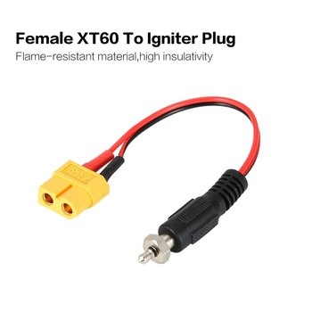 XT60 Female To Glow Plug Igniter Driver Charger Adapter Cable Converter Remote Control Crocodile Clips Lead Wire image