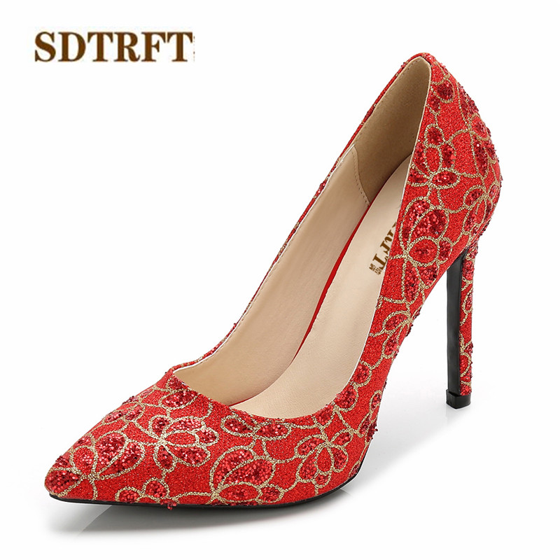 SDTRFT RED stilettos 11cm thin heels Sequins wedding shoes woman Shallow mouth pumps Pointed Toe zapatos mujer Plus:35-44 45 46