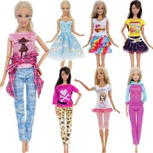 1 PCS Handmade Fashion Outfit Short Dress Cartoon Cute Pattern T-shirt Leggings Trousers Accessories Clothes For Barbie Doll Toy(China)