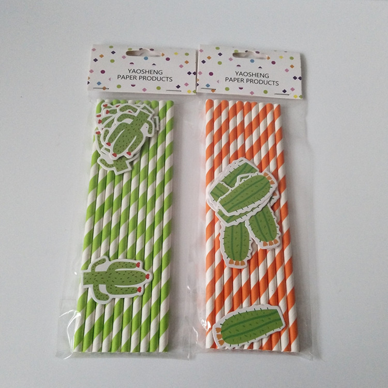 10Pcs Cactus Design Paper Straws Birthday Party Decoratins Kids Disposable Straws Wedding Decorations Beach Party/Pool Supplies