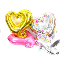 цена на 50pcs/lot 18 inch gold/pink/blue hook Heart shaped foil balloons Wedding Valentine's Day Decor i love you inflatable air globos