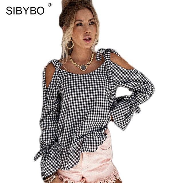 Sibybo Модные свободные Кружево Up выдалбливают Клетчатая блуза-рубашка галстук-бабочка рукавом О Средства ухода за кожей шеи Blusas Лето Уличная Для женщин Блузки для малышек