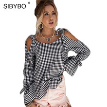 Sibybo Fashion Loose Lace Up Hollow Out Plaid Blouse Shirt Bow Tie Sleeve O Neck Blusas Summer Streetwear Women Blouses
