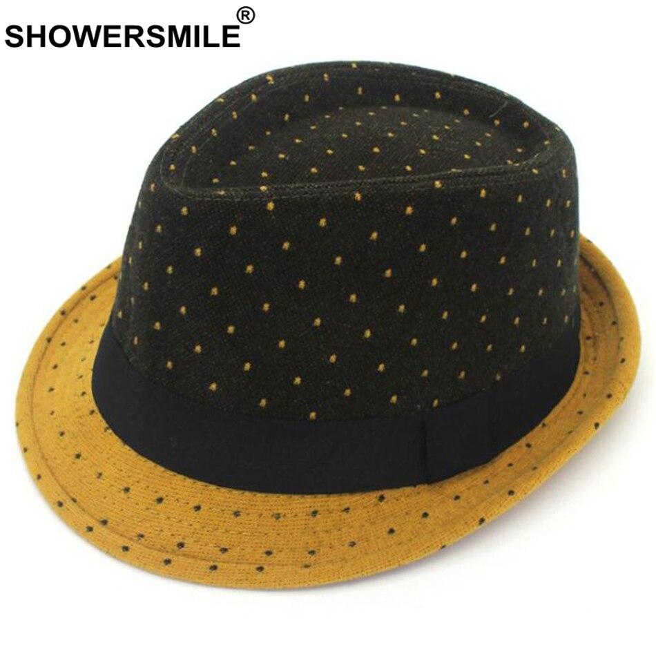 SHOWERSMILE Polka Dot Mens Fedora Hat Wool Patchwork Vintage Jazz Hat British Style Women Classic Gentlemen Hat And Caps Fashion gentleman