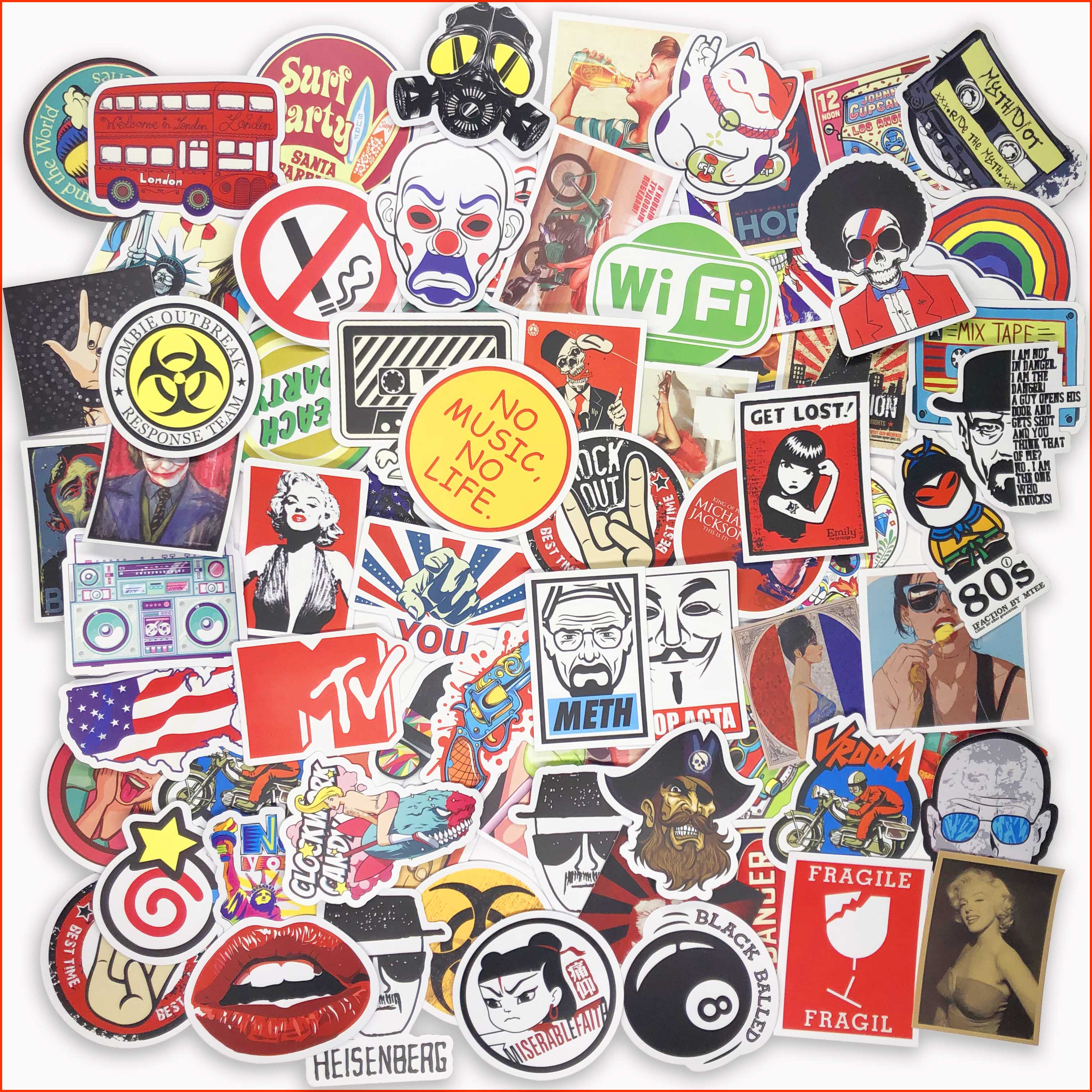 50 pcs mixed funny hit stickers for kids home decor decal on laptop sticker decal skateboard doodle toy stickers