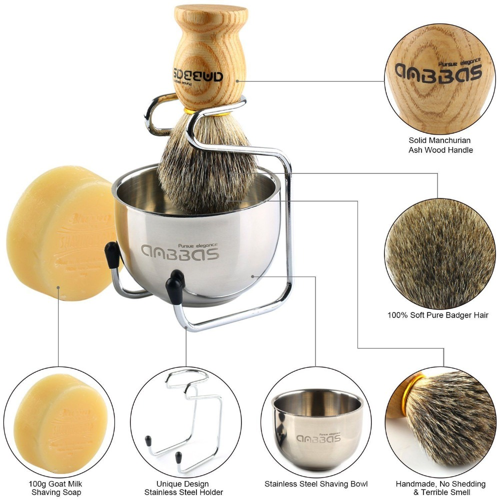 Anbbas 4in1 Men Shaving Brush Kit 100% Natural Badger Hair Brush Wood Handle Stainless Steel Holder Bowl Mug Soap Grooming Set 2