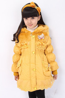 Free shipping Winter girls' long lace cotton wool hat cotton-padded jacket