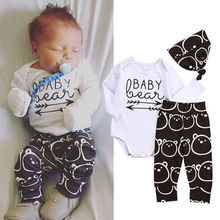 Newborn Toddler Baby 3PCS Clothing Set Girls Boy Baby Bear Cotton Long Sleeve Rompers +Long Pants Hat Outfits