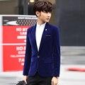 Мальчик Бренд-одежда 2016 Новый Корейский Бархат Блейзер Мужчин Slim Fit Твердые Одной Кнопки блейзер masculino