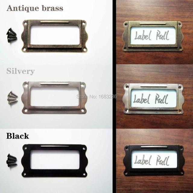 12pcs Decorative Furniture Cabinet Drawer Box Case Iron Metal Tag Label Pull Frame Handle File Name Card Holder