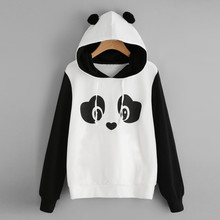 2017 Womne Fashion panda Sweatshirt Ladies Cartoon Cute Panda Print Hoodie Hooded Pullover Sweatshirt Female Autumn Jumper Tops(China)