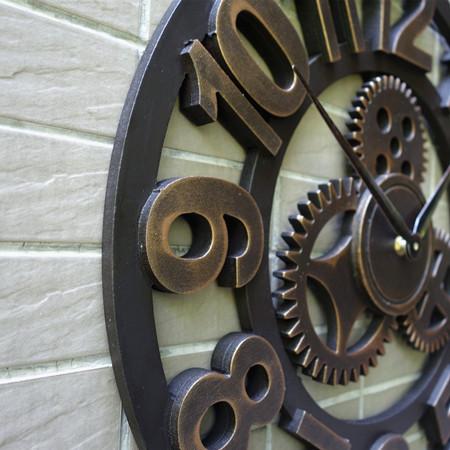 3d Vintage Wood Gear wall clock wandklok Retro wall clocks kitchen pared relojes decoracion wanduhr watches home decor round